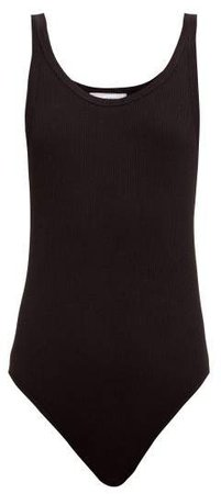 Ribbed Cotton Jersey Sleeveless Bodysuit - Womens - Black