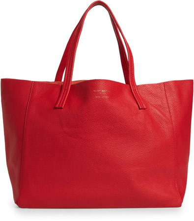 Violet East/West Leather Tote
