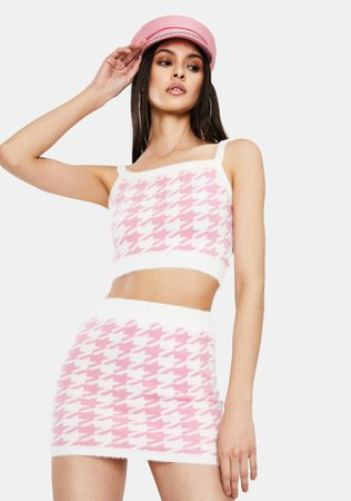 Houndstooth Crop Tank And Skirt Set - Pink/White | Dolls Kill