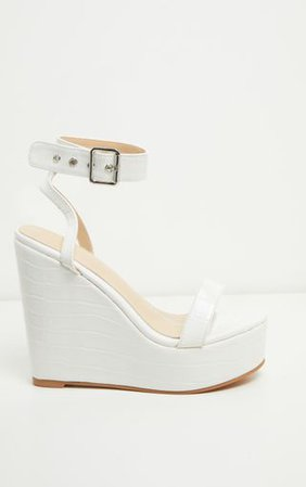 White Ankle Strap High Wedges | Shoes | PrettyLittleThing