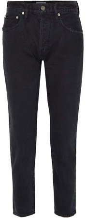 AGOLDE - Jamie Cropped Distressed Organic High-rise Straight-leg Jeans - Black