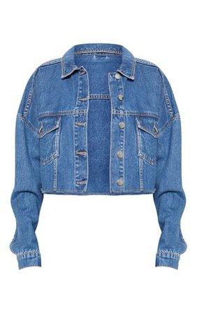 Mid Wash Raw Edge Denim Jacket | Denim | PrettyLittleThing