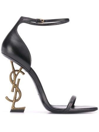 Black Saint Laurent Opyum Sandals | Farfetch.com