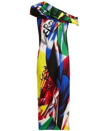 Versace Paint-print off-the-shoulder dress