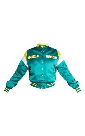 Green Oversized Inglewood Bomber Jacket   PrettyLittleThing USA