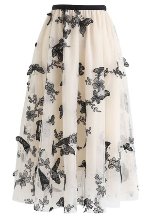 3D Butterfly Double-Layered Mesh Midi Skirt in Cream - Retro, Indie and Unique Fashion