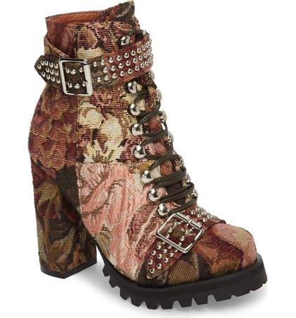 Jeffrey Campbell Lilith Block Heel Bootie (Women) floral   Nordstrom