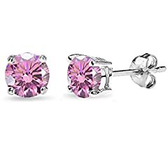 Amazon.com: Sterling Silver 5mm Round Pink Stud Earrings created with Swarovski Crystals: Jewelry