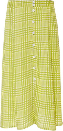 Marin Checked Crepe Midi Skirt Size: S