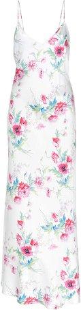 Floral-Print Satin Maxi Dress