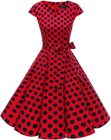 Women's Vintage Tea Dress Prom Swing Cocktail Party Dress with Cap-Sleeves at Amazon Women's Clothing store