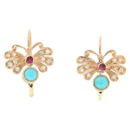 Handcraft Butterfly 14 Karat Yellow Gold Diamonds Ruby Turquoise Dangle Earrings For Sale at 1stDibs