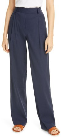 Pleat Front Pull-On Linen Blend Trousers