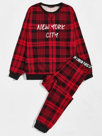 Guys Letter Graphic Plaid Pullover & Sweatpants PJ Set   ROMWE USA
