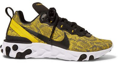 React Element 55 Snake-print Mesh, Faux Leather And Felt Sneakers - Bright yellow