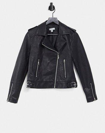 Topshop classic faux leather biker in black   ASOS