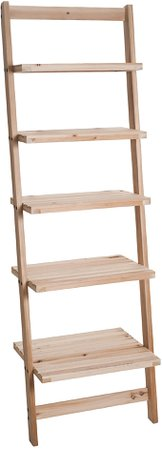 Amazon.com: Book Shelf for Living Room, Bathroom, and Kitchen Shelving, Home Décor by Lavish Home- 5-Tier Decorative Leaning Ladder Shelf- Wood Display Shelving: Home & Kitchen