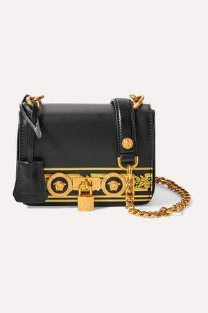 Embellished Printed Leather Shoulder Bag - Black