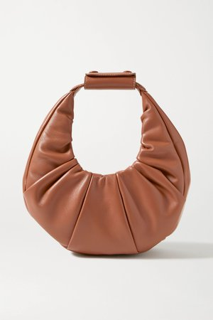 Tan Moon mini ruched leather tote   STAUD   NET-A-PORTER