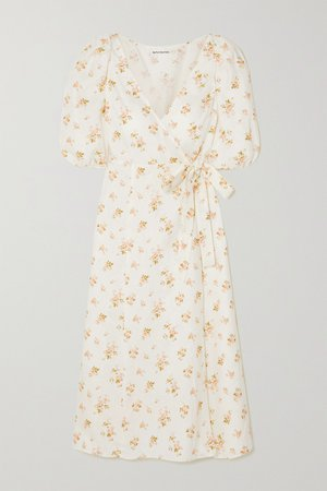 White Mint floral-print linen wrap midi dress | REFORMATION | NET-A-PORTER