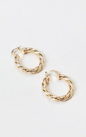 Gold Rope Twist Hoop Earrings - New In Today - New In   PrettyLittleThing