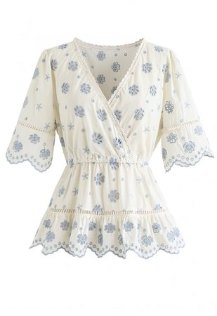 Floral Broderie Anglaise Wrap Peplum Top in Blue - NEW ARRIVALS - Retro, Indie and Unique Fashion