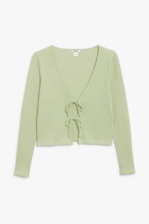 Cropped cardigan - Green - Tops - Monki