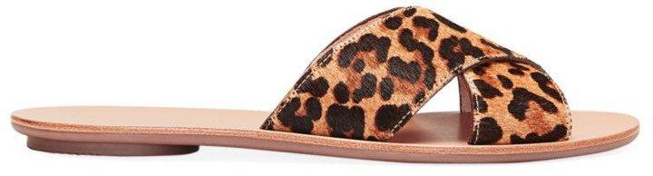 Claudie Flat Leopard-Print Calf Hair Sandals