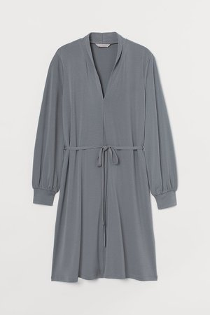 Shawl-collar Dress - Green