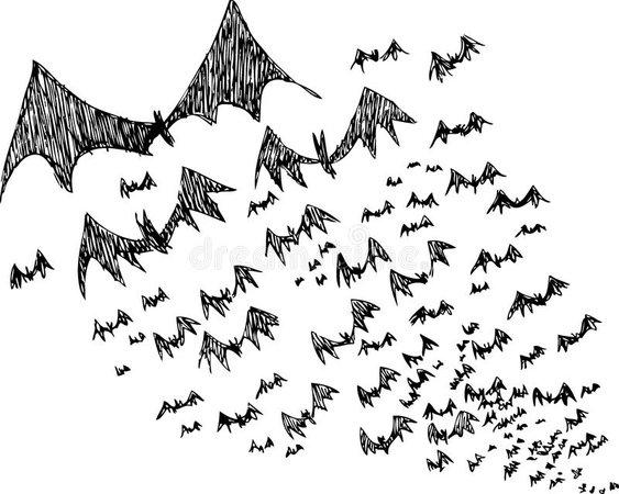 Sketch Of Black Halloween Bats Stock Vector - Illustration of wings, halloween: 34141586