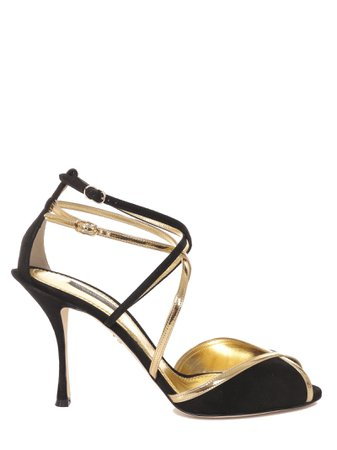 Dolce & Gabbana Black And Gold Keira Sandals