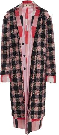 Plaid Wool-Blend Layered Coat