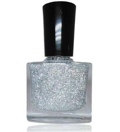 silver glitter nail polish bottle