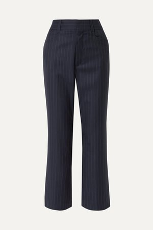 Navy 70s cropped pinstriped wool bootcut pants   RE/DONE   NET-A-PORTER