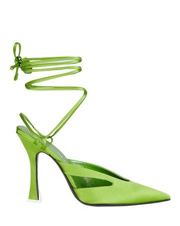 The Attico Anais Satin Ankle Wrap Sandals   INTERMIX®