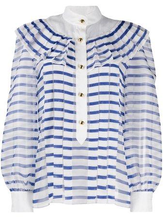 Philosophy Di Lorenzo Serafini pleated striped blouse