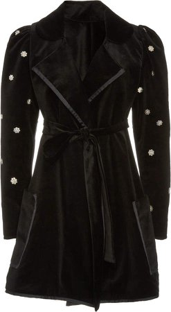 Alix of Bohemia Maryann Belted Velvet Car Coat