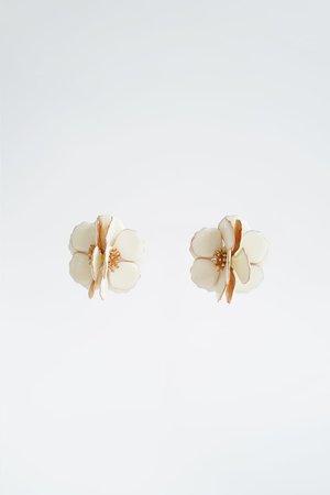 FLOWER EARRINGS | ZARA United States gold