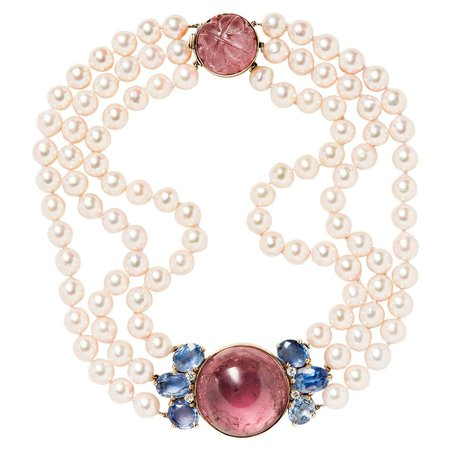 Seaman Schepps Pink Tourmaline, Sapphire, Cultured Pearl and Diamond Necklace