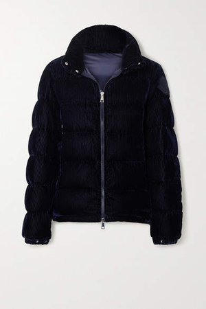 Quilted Corduroy Down Jacket - Navy