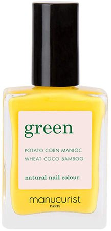 Green Nail Lacquer - Gold Button