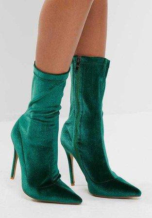 green velvet ankle boots sock lycra dark forest heel heels heeled boot boots