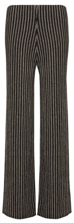 Black Stripe Print Textured Trousers