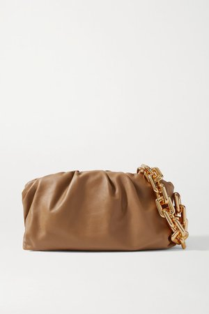 The Chain Pouch Gathered Leather Clutch - Camel