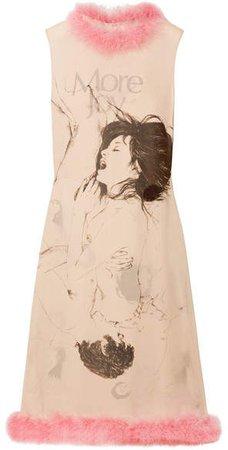 Feather-trimmed Printed Silk-georgette Midi Dress - Beige