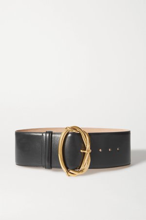 Black Leather waist belt | Alexander McQueen | NET-A-PORTER