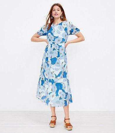 Poppy Puff Sleeve Tiered Midi Dress