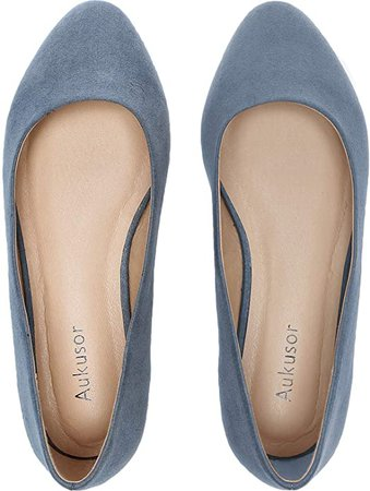 Amazon.com | Women's Wide Width Flat Shoes - Comfortable Classic Pointy Toe Slip On Ballet Flat(Grey 180818, 10WW) | Shoes