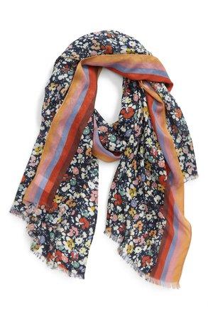 Rebecca Minkoff Stripe Trim Floral Scarf | Nordstrom