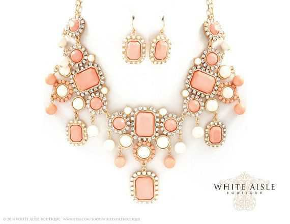 peach necklace and earrings - Google Search